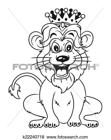 Clip Art of black and white Lion With Crown Car k22240718.