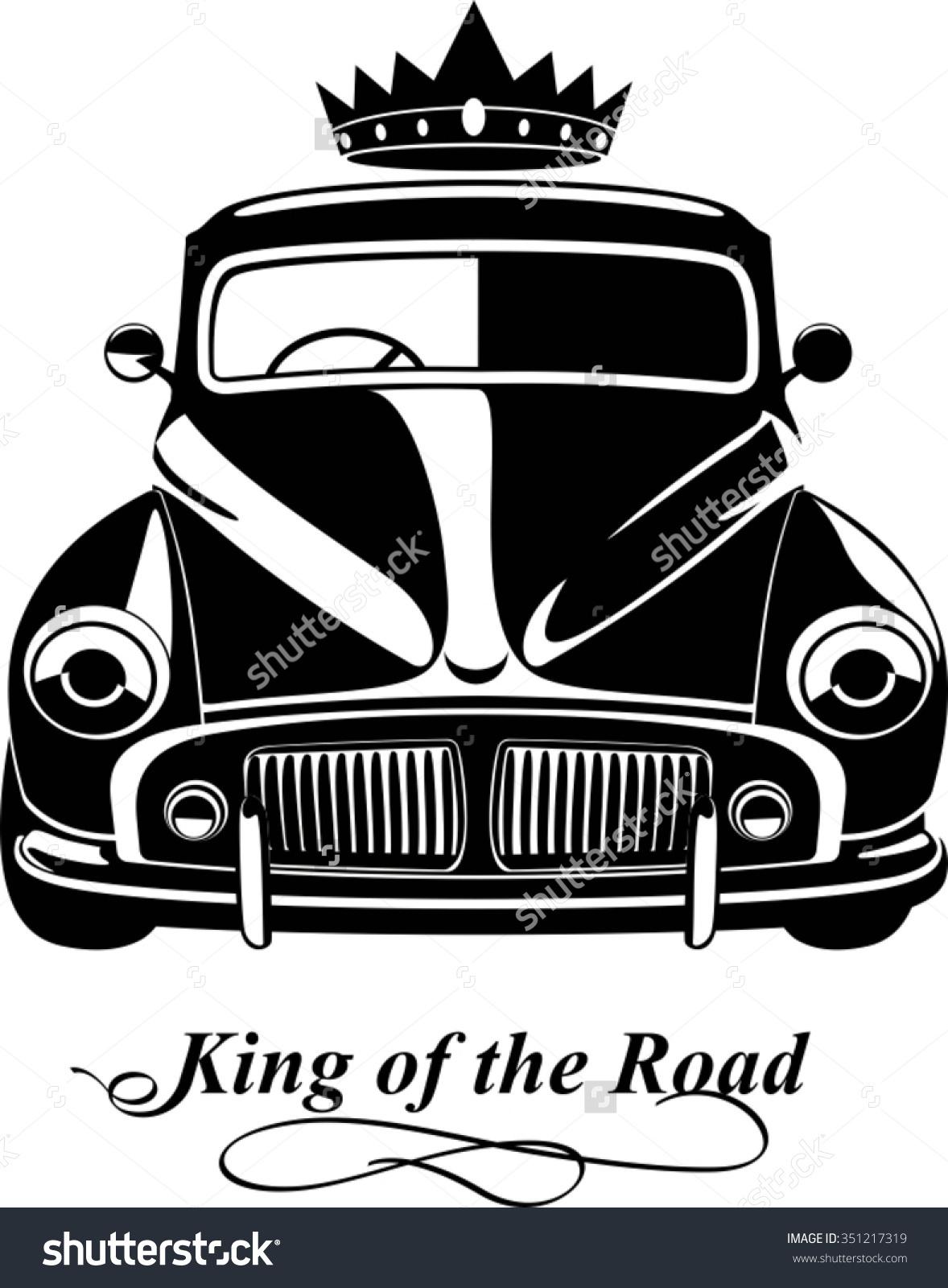 Black White Vintage Car Silhouette Front Stock Vector 351217319.