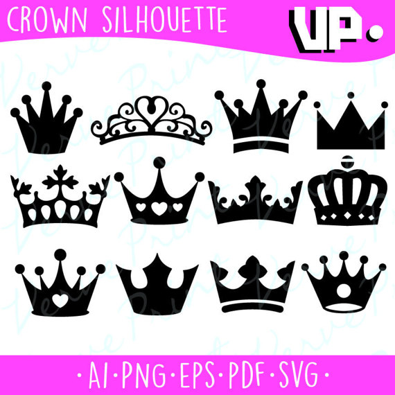 Crown Silhouette Svg, Ai, Eps, Pdf Cutting file,Princess Crown SVG.