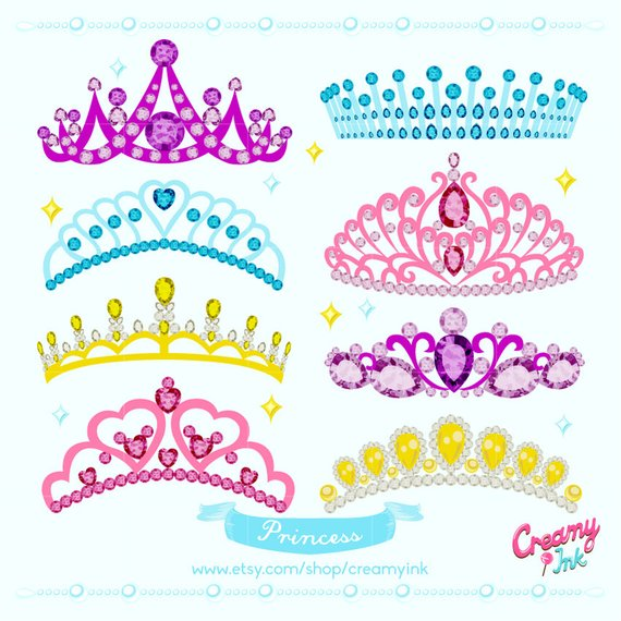 Princess Crown Digital Vector Clip art/ Tiara Clipart Design.