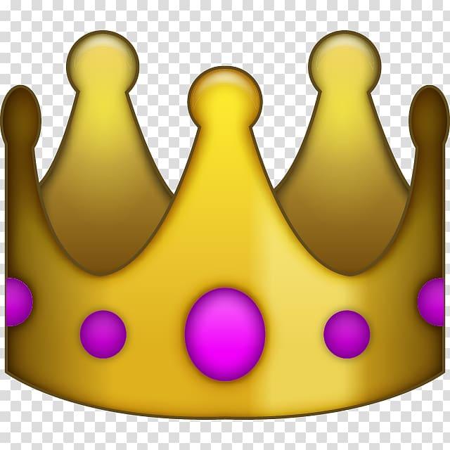 Gold and purple crown emoji illustration, iPhone Emoji.