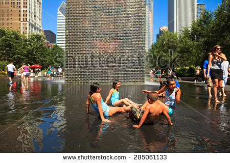 Crown Fountain Chicago Stock Photos, Royalty.