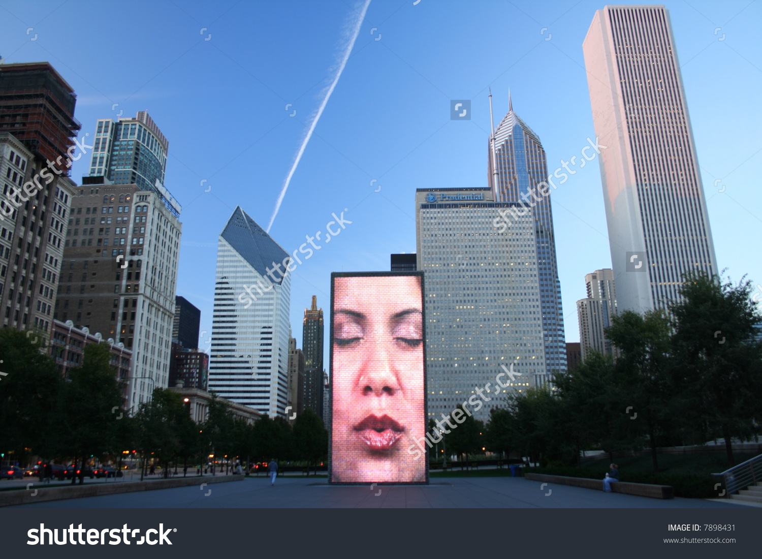Crown Fountain Sculpture Giant Display Featuring Stock Photo.