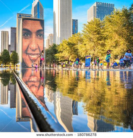Crown Fountain Chicago Stock Photos, Royalty.