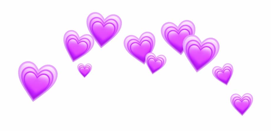 Heart Hearts Purple Crown Tumblr Emoji Sticker Crown.