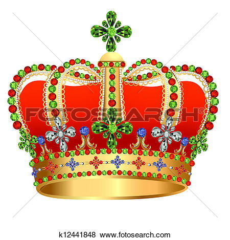 Clip Art of of royal gold crown with jewels k12441848.