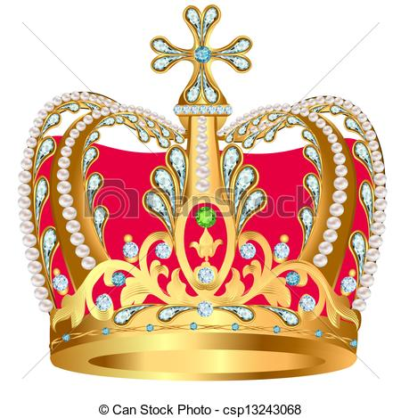 Vector Clip Art of of royal gold crown with jewels.