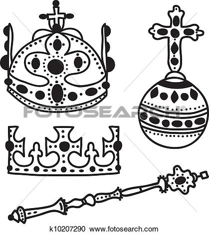 Clipart of Set of crown jewels k10207290.