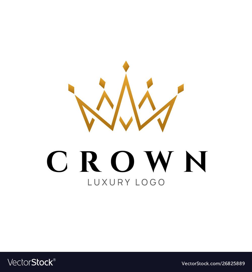 Crown logo king royal icon queen logotype.