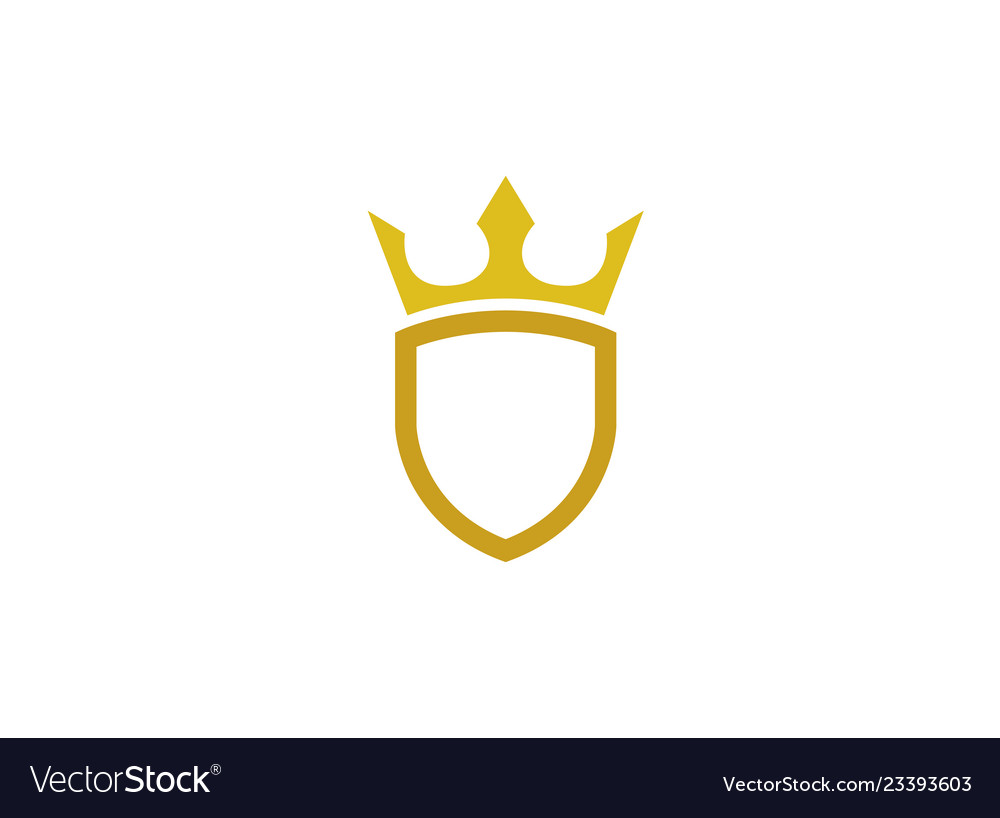 Golden shield with a crown for logo design.