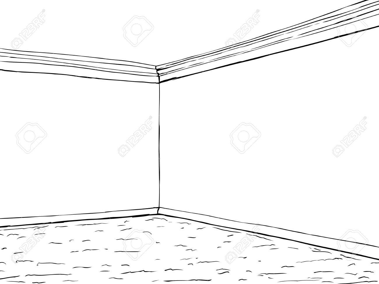 Outline illustration of empty room with corner crown molding...