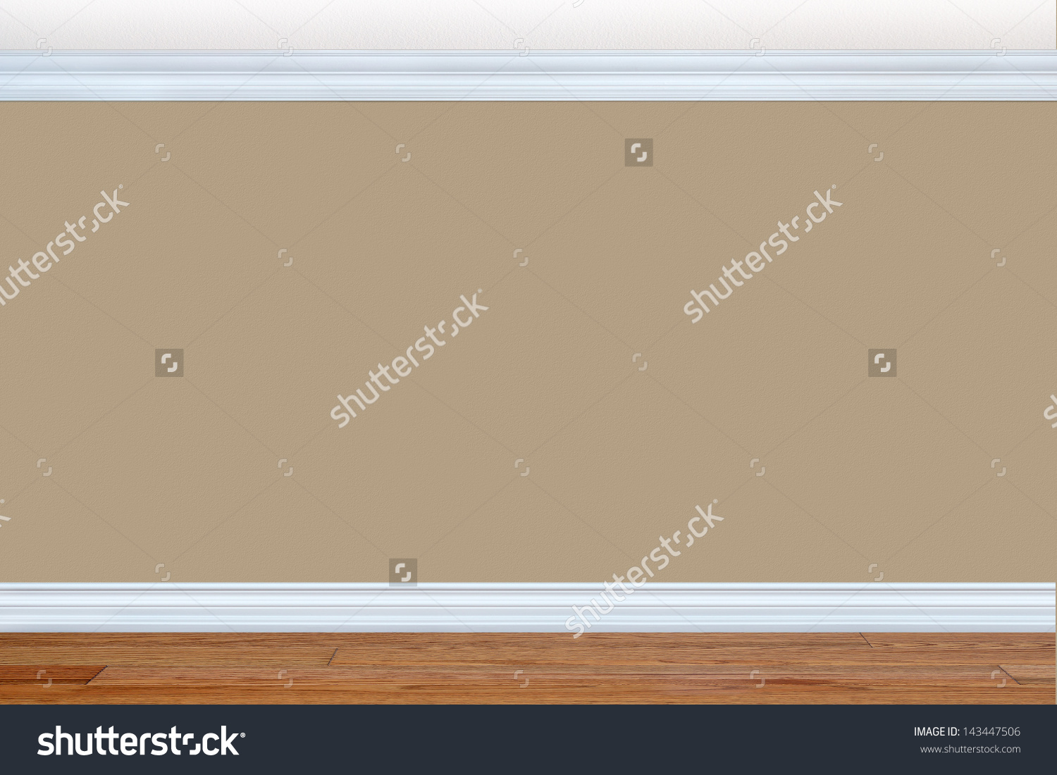 Bedroom Wall Baseboard Crown Molding Stock Photo 143447506.