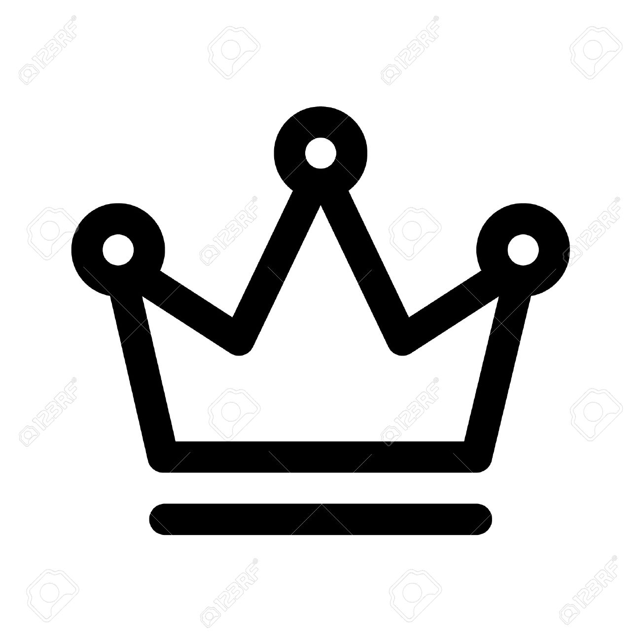 Crown Of The King Line Art Icon For Apps And Websites Royalty Free.