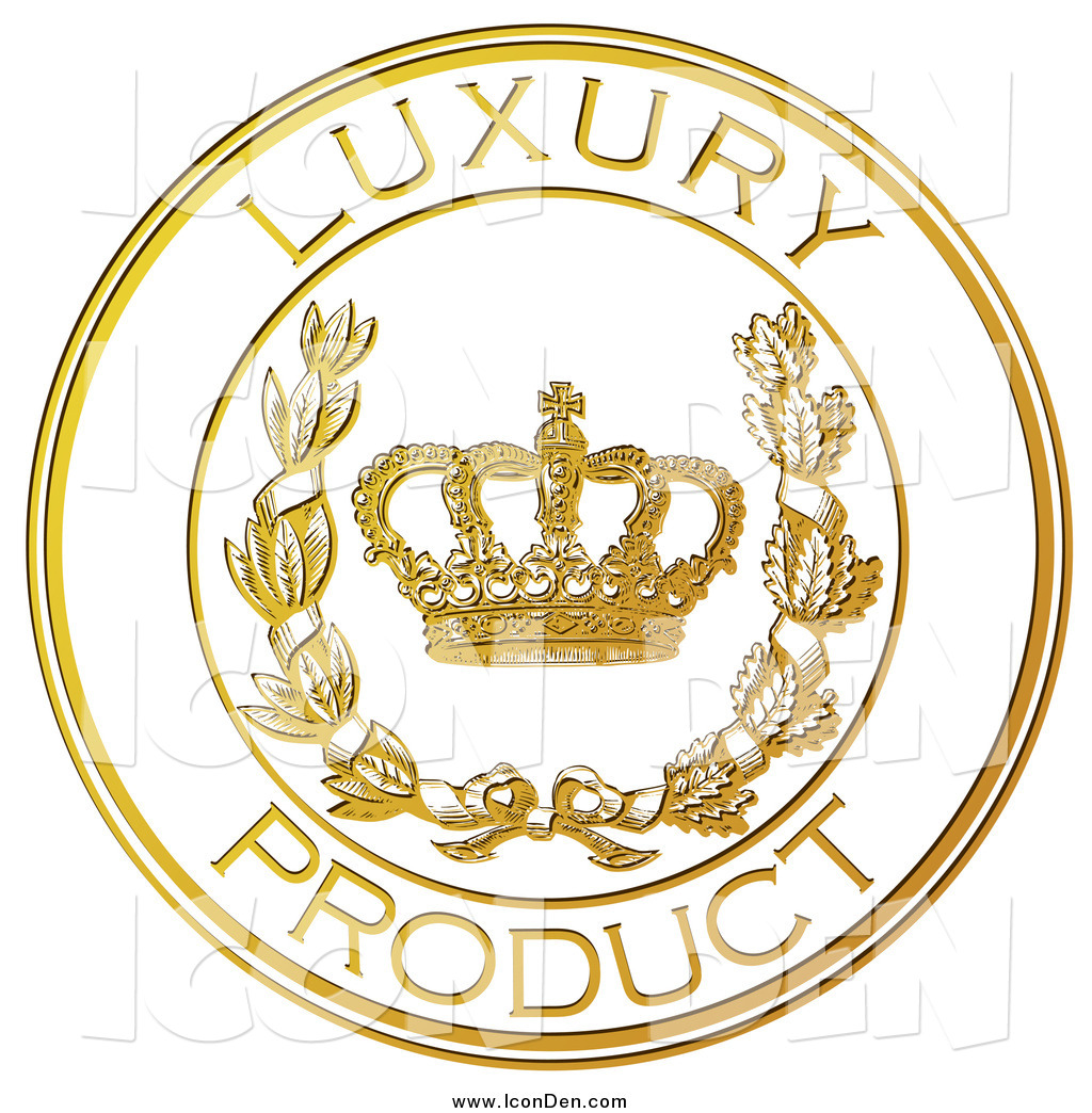 Clip Art of a Gold Embossed Luxury Product Seal with a Crown and.