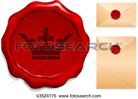 Clipart of Crown on Wax Seal k3524175.