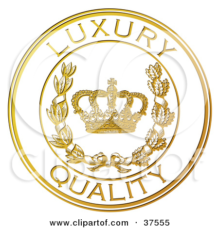 Clipart Illustration of a Golden Embossed Luxury Product Seal With.
