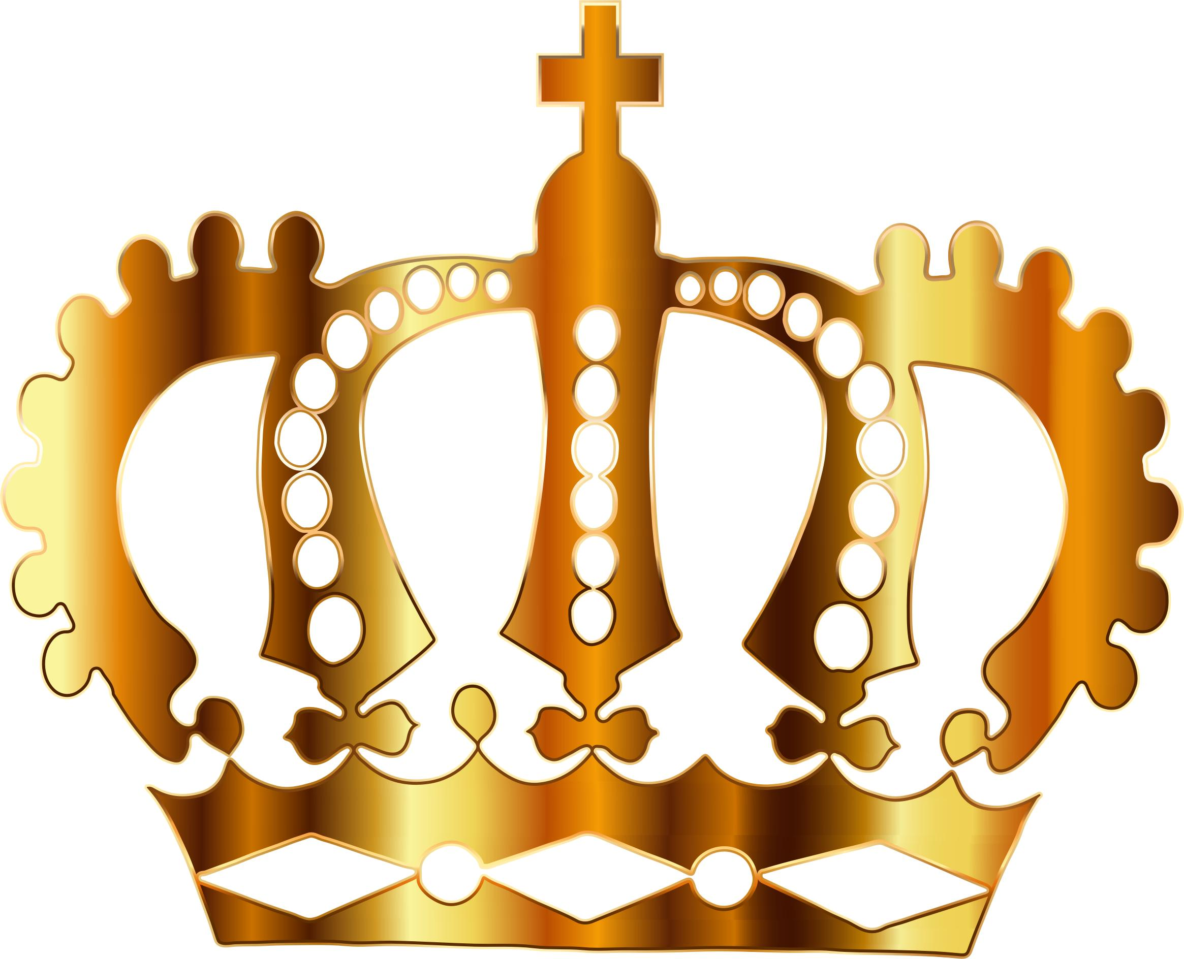 Gold Royal Crown Silhouette No Background Icons PNG.