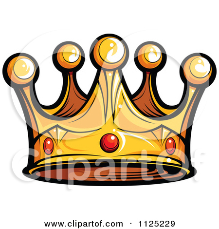 Cartoon Of A Golden King Crown With Ruby Gems.