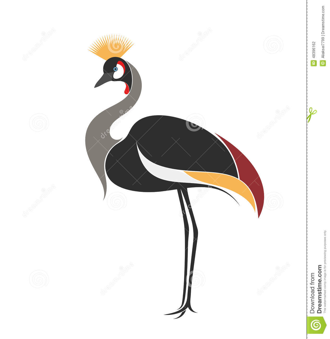Crowned Crane Stock Vector.