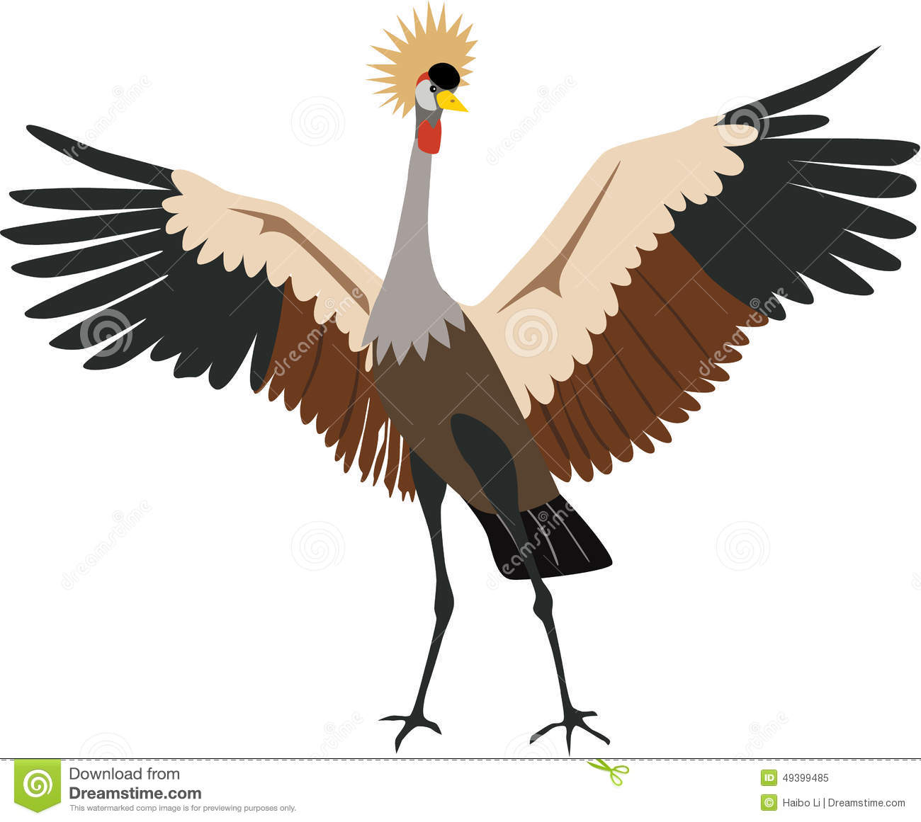 Cute Grey Crowned Crane Vector Stock Vector.