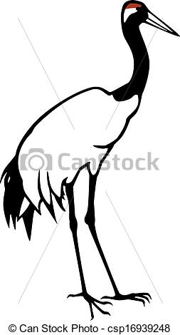 EPS Vector of Red Crowned Crane.