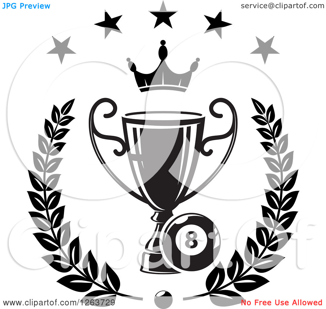 Clipart of a Black and White Billiards Eight Ball with a Crown and.