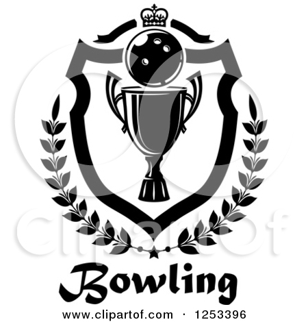 Clipart of a Black and White Bowling Ball and Championship Trophy.
