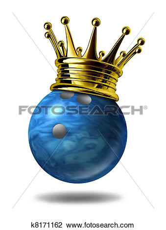 Clip Art of Bowling king champion with gold crown k8171162.