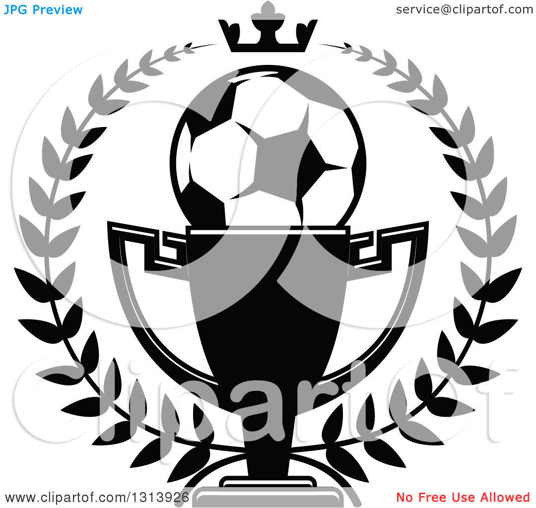 Clipart of a Black and White Soccer Ball in a Championship Trophy.