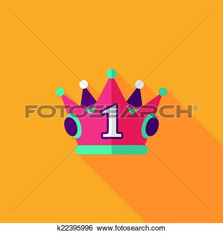 Clip Art of champion crown flat icon with long shadow,eps10.