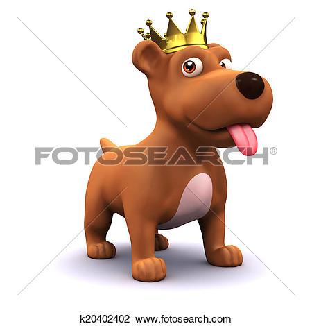 Clip Art of 3d Puppy dog gold crown champion k20402402.