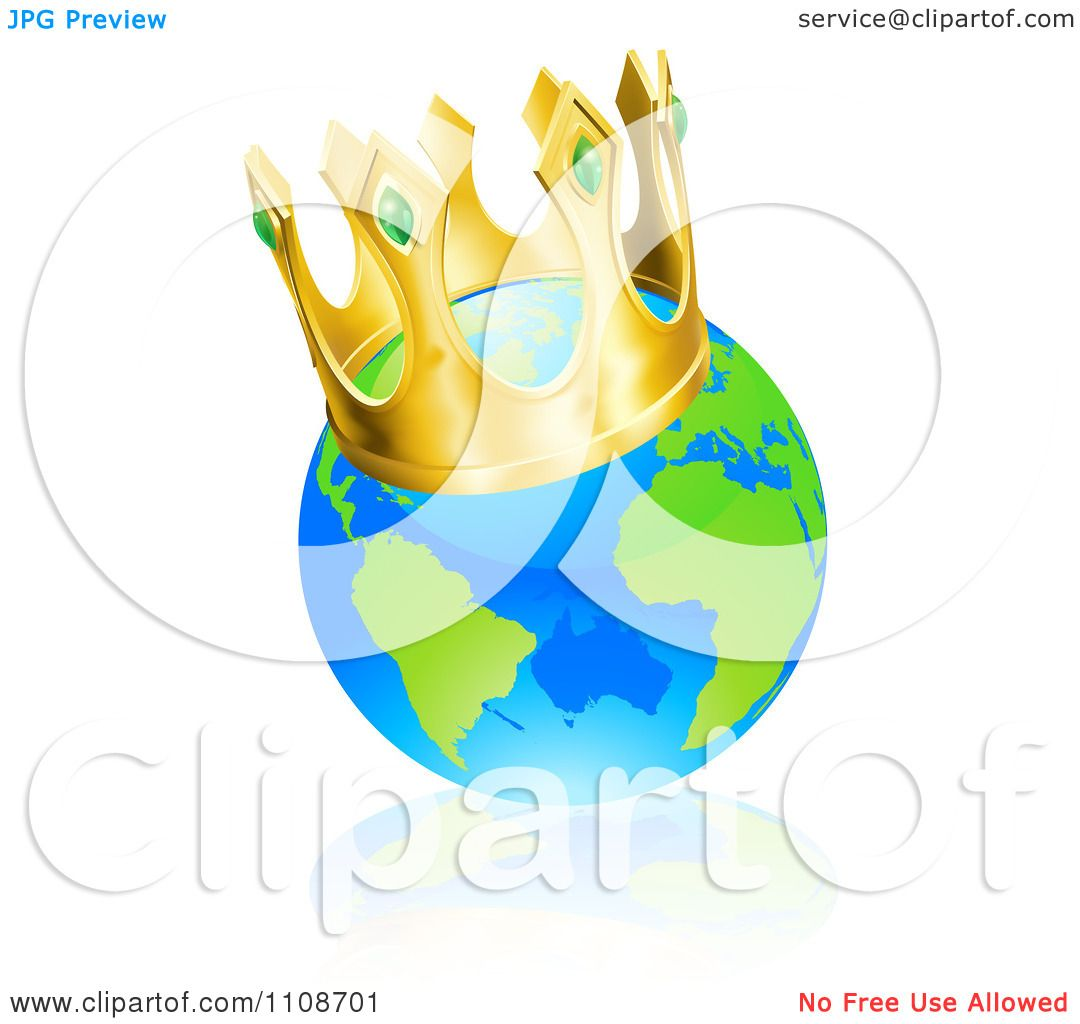 Clipart Champion Globe Wearing A Kings Crown.