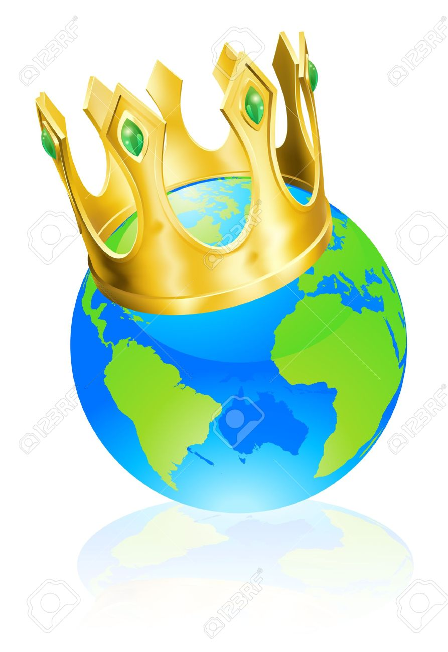 World Globe Wearing A Crown, King Of The World Or Champion Concept.