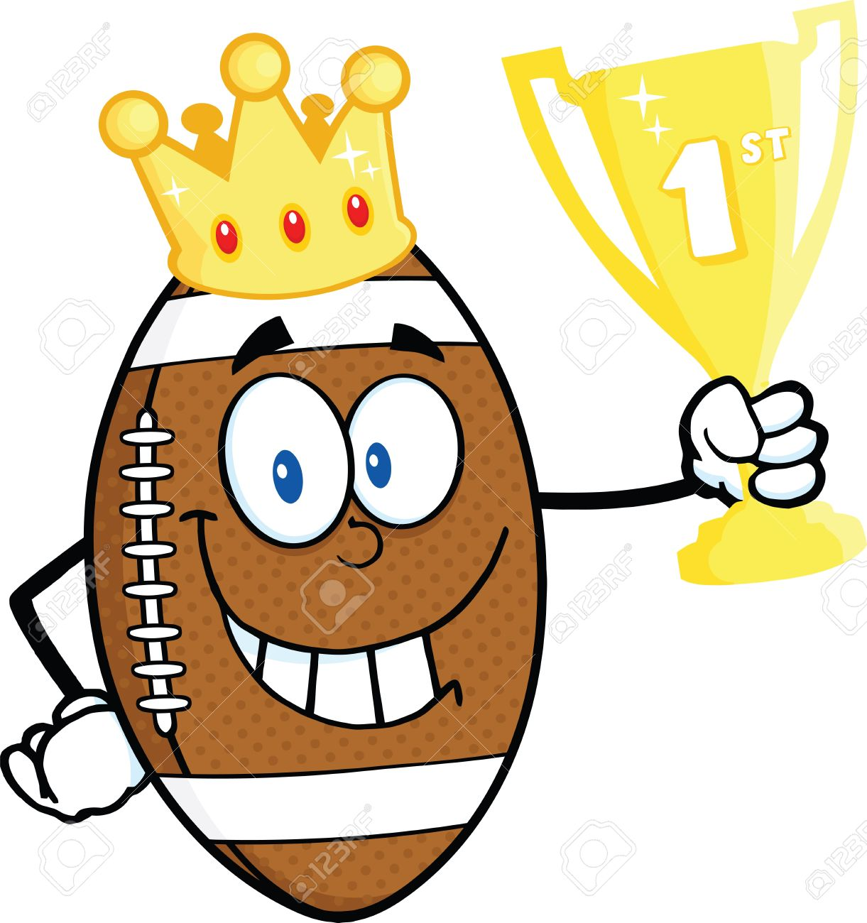 American Football Ball Character With Golden Crown Holding First.