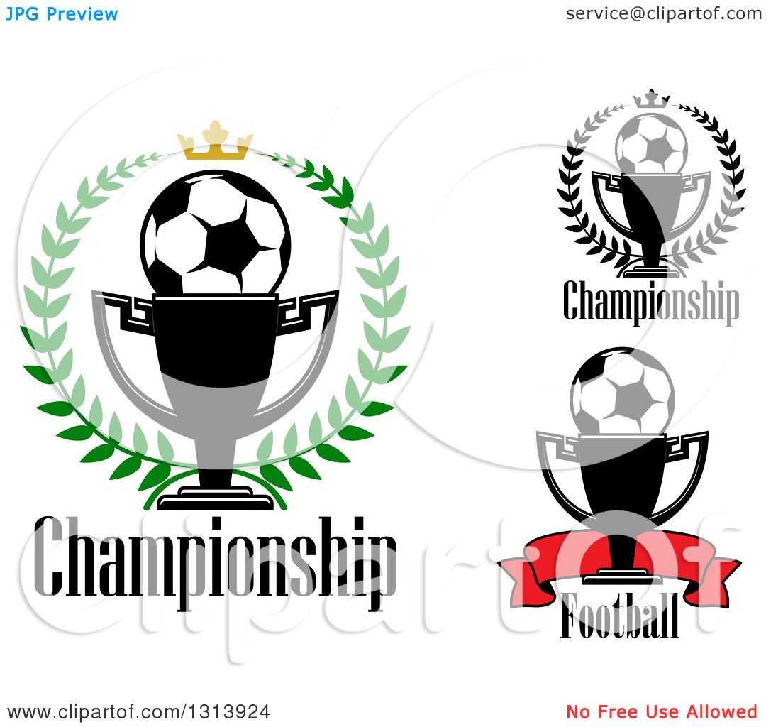 Clipart of Soccer Balls with Championship Trophy Cups, Wreaths.