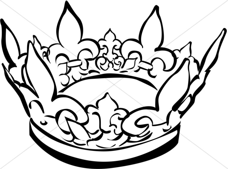 Black and White Crown Clipart.