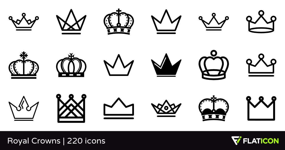 Royal Crowns 220 free icons (SVG, EPS, PSD, PNG files).