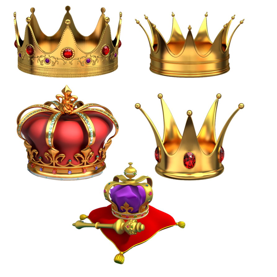 Gold crowns png image Transparent Backgound picture.