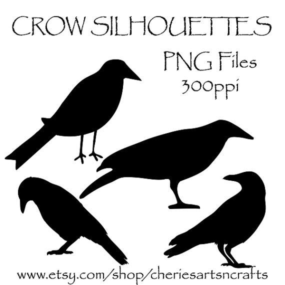 Crow Silhouettes, Crow Clipart, Clip Art, Birds, Black Crows.