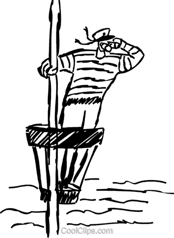 Sailor in the crows nest Royalty Free Vector Clip Art illustration.
