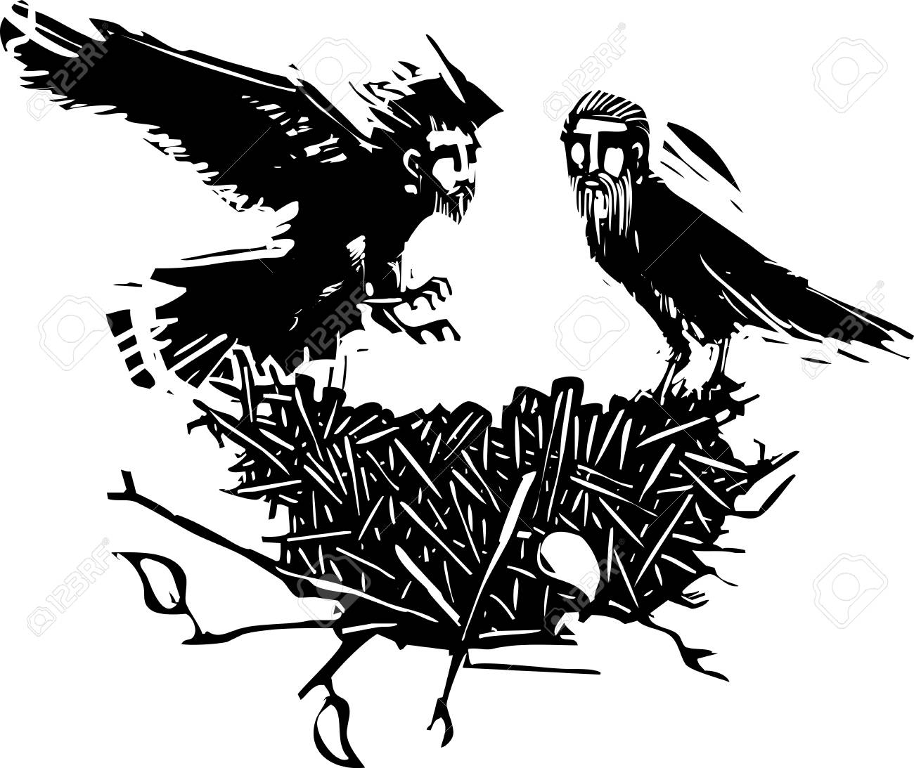 Woodcut style expressionistic crows with the heads of men with...