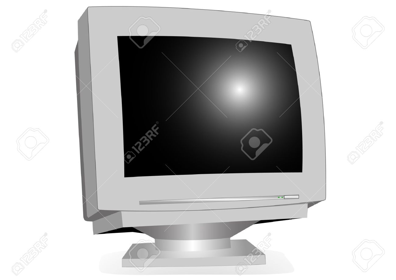 Monitor CRT Illustration On A White Background Royalty Free.