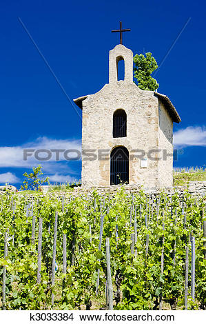 Stock Photo of grand cru vineyard and Chapel of St. Christopher, L.