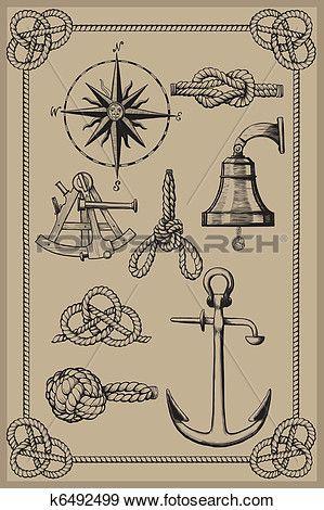 éléments nautiques sur cru backgr Voir Grand Clip Art Graphique.