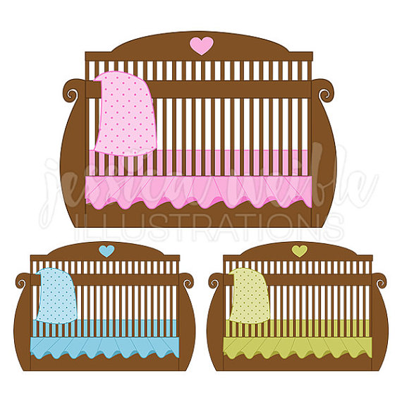 Brown baby Crib Cute Digital Clipart, Baby Bed Clip art, Baby Crib.