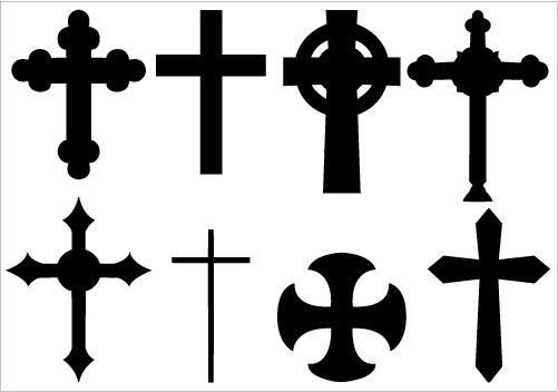 Christian Cross Silhouette Clip Art Vector Graphics.