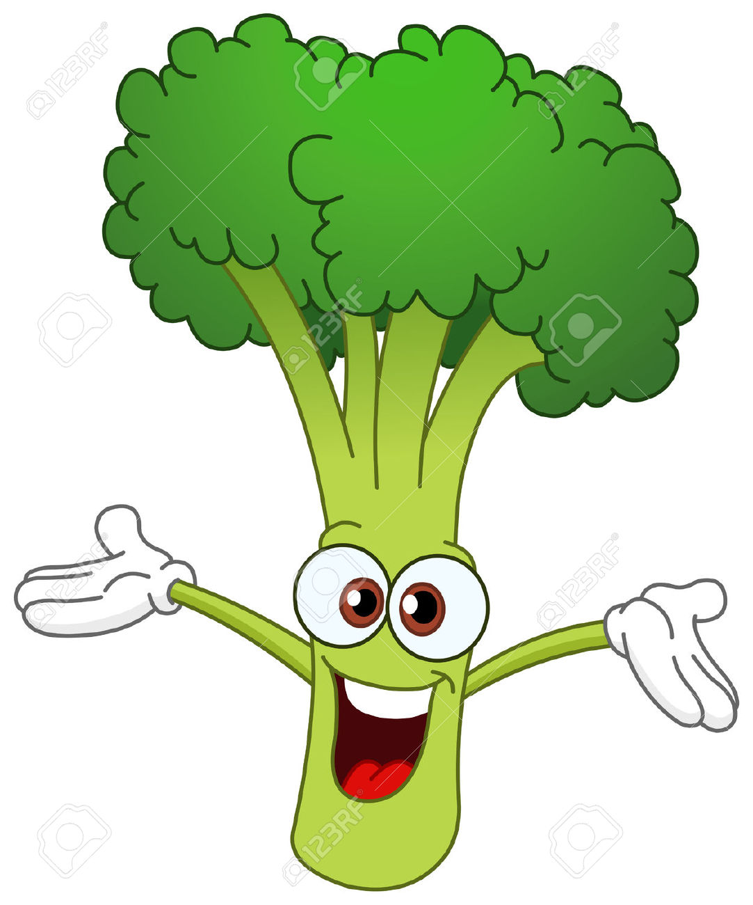 Cheerful Cartoon Broccoli Raising His Hands Royalty Free Cliparts.