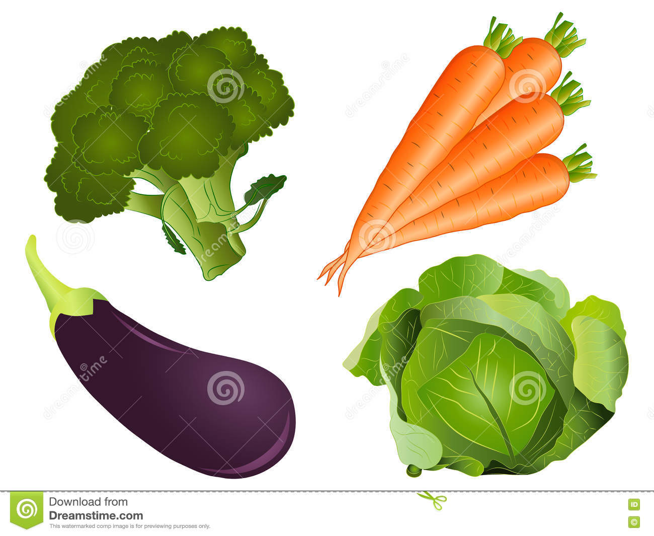 Vegetable Clipart Set Stock Photo.