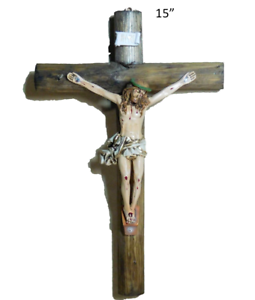 "Details about 15"" Wall Cross Jesus Christ Crucifix, Crucifijo de Madera  Redonda, Handcrafted."