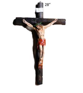 "Details about 28"" Wall Cross Jesus Christ Crucifix Red Clothe, Crucifijo  Vestidura Roja."